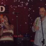 Despite the bubbles, Stu manages to concentrate on his melodica playing